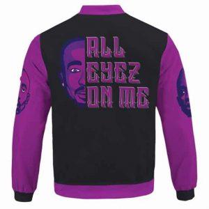 Unique All Eyez On Me 2Pac Makaveli Purple Varsity Jacket